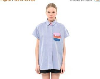 Strips shirt, Oversized shirt, Classic Spring & Summer Cotton Collared Shirt, Everyday Fashion Top, Versatile Blouse