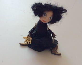Miniature doll brooch,Brooch doll, Doll-brooch Dancing, Handmade brooch, Brooch girl- funny doll brooch, OOAK brooch, Primitive doll brooch