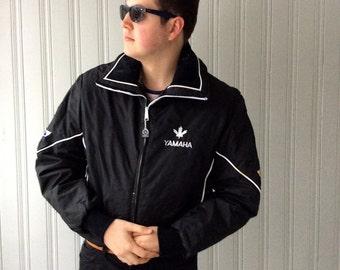 Vintage Yamaha Snowmobile Ski Jacket Black Nylon Insulated Winter jacket white piping Large or XL