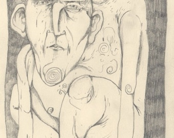 "When We Pray Alone. Pencil on Paper. 5.5"" x 7.5"""