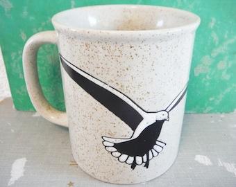 Vintage Seagull coffee mug stoneware stylized bird black white tan beach nautical decor