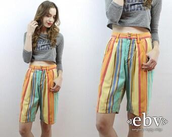 90s Shorts Striped Denim Shorts High Waisted Shorts High Waist Shorts Striped Shorts Jean Shorts Hipster Shorts Espirit 1990s Shorts S