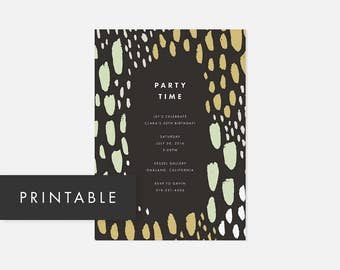 Simple Modern Invite Printable / Party Invitations / Bold Pattern / Green / Adult Birthday Party, Graduation Party, Housewarming