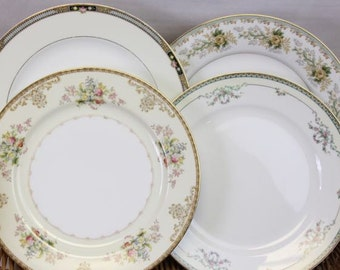 Mismatched Dinner Plates Set of 4 Dinner Plates Vintage Party Plates Mix and Match FIne China Bridal Shower Wedding Replacement China #302