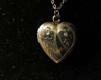 Vintage Gold Filled Heart Pendant Locket Necklace with Flowers Engraved