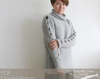 Crochet Pattern: The Abequa Sweater- Adult Womens Small Medium Large Extra Large XXL cozy turtleneck tunic oversized
