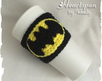 Batman Tea or Coffee Cup Cozy.  Hand crocheted, fits standard size coffee or tea cups, custom sizes available