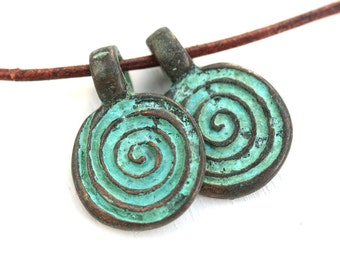 2pc Spiral charms, Green patina on Copper round pendant beads, 4mm large loop, metal casting - F529