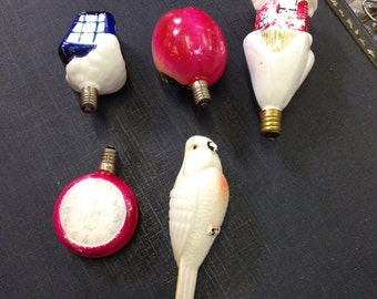 5 Christmas Figural Milk Glass light bulbs