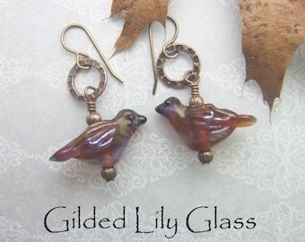Birdy Bead Earrings, Torchwork Glass Jewelry Handcrafted in North Carolina