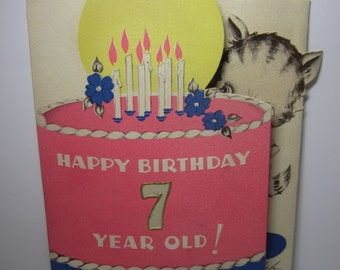 1938 Stanley colorful die cut mechanical birthday card for a 7 year old, cute tabby cat cuts giant pink birthday cake