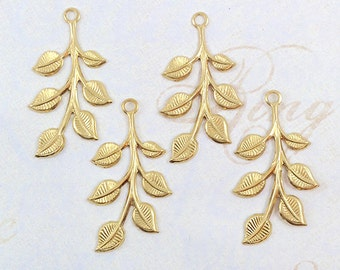 Raw Brass Leaf, Leaves, Leaf Stamping, Brass Finding, 20mm x 37mm - 4 pcs. (r187)