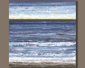 FREE SHIP - abstract painting, ocean painting, square format, landscape painting, beach, slate blue, waves, large art, water, nova scotia