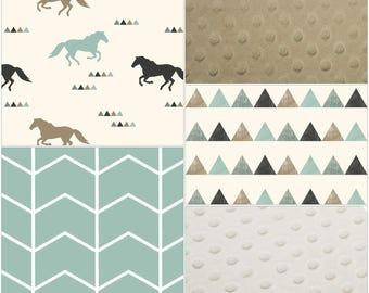 Deer Baby Blanket - Wild Horse, Broken Chevron, Triangles, Ivory Minky, and Tan Minky Patchwork Baby Blanket