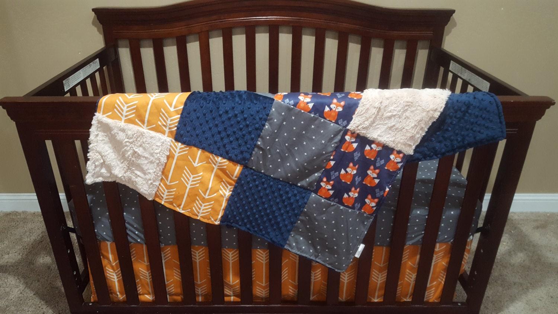 Baby Boy Crib Bedding Navy Fox Gray Plus Orange Arrow And