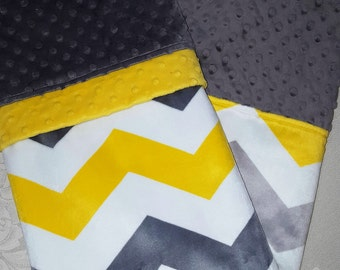 Yellow, Gray & White Soft Minky Baby Blanket