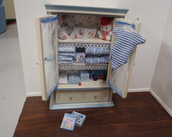 Dollhouse cupboard filled with boy nursery and toys, French dollhouse collectible accessory, 1:12th scale