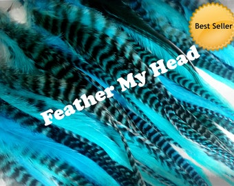 "Feather Hair Extensions - Turquiose - Wide Accent Feathers - 7""-11"" Long (17.78 cm - 27.94 cm)"
