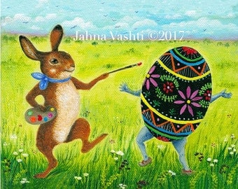 Bunny Colors, Spring Equinox Art, Easter Decor, Easter Bunny