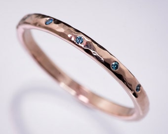 Narrow 2mm Teal Diamond Wedding Ring in Sterling Silver, Palladium, Rose, White & Yellow Gold, Skinny Textured Womens Wedding Band