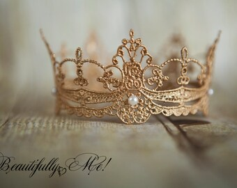 Exquisite Delicate Crown Prop w Pearls ANY color Toddler Newborn Infant Girls Princess Session Gold Silver Mini Size with Pearls NewbornProp