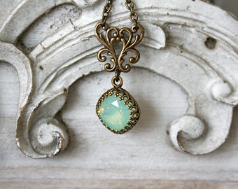 Mothers Day Gift, Chrysolite Opal Necklace, Swarovski Crystal Necklace, Mint Green necklace, Mint Green Opal Swarovski Crystal Necklace