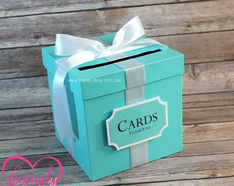 Card Box with Sign | Light Teal & White |  Gift Money Box for Any Event | Wedding | Bridal Shower | Birthday | Baby Shower | Graduation
