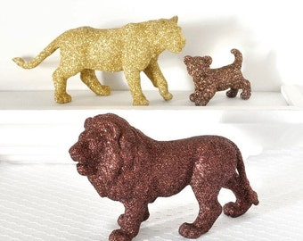Jungle Safari Baby Shower Decorations Lion Pride in Brown and Gold Glitter for Boy or Girl Wild Jungle Nursery Decor, Birthdays, or Wedding