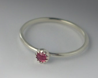 Tourmaline Ring - Stackable Sterling Silver Pink Tourmaline Ring