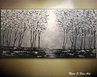 Silver Forest Painting Landscape Original Painting Abstract Silver Tree Painting Palette Knife Large Artwork Modern wall Decor by Nata S