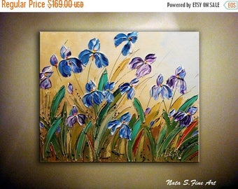 """Wild Irises ORIGINAL Painting Abstract Textured Iris on Canvas Palette Knife Contemporary Floral Art Modern Wall Decor 20"""" x 24"""" by Nata S."""