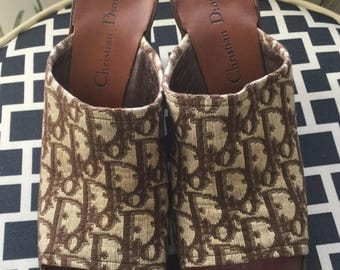 Chistian Dior Shoes vintage new wedge sandals brown monogrammed signature canvas made in france size 8 / 8.5 saks fifth avenue