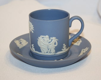 Wedgwood Jasperware Demitasse Cup & Saucer, Made in England, Lavender / Blue, 1960s, Pristine Condition