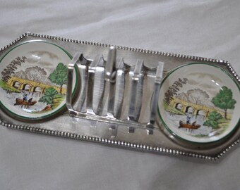 Vintage Silver Plated Toast Rack with Butter / Jam / Marmalade Dishes made by Copeland Spode