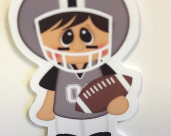 Black and Silver or Gray  Football Magnetic Bookmark