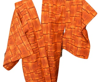 Vintage Brilliant Orange Haori Japanese Kimono