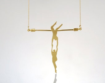 SALE!!! Athletic Couple on a Trapeze , Acrobat Necklace , Gold Necklace , Athletic Charm , Gift for Athelets , Sport Jewelry , Circus Nec...