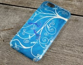 Peacocks iPhone Case - Blue & White Peacocks in a Tree Whimsical Art iPhone Case for iPhone 5/6/7/8/, Plus, +, S, Protective Tough Case