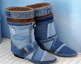 Denim boots, jean boots size 8, hippie boots, rockabilly, denim boho boots, upcycled, refashioned, embellished boots unique funky crazy