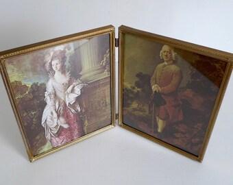 "Vintage Gold Metal Bifold 8x10 Double Picture Frame 8 x 10"" - Folding Bi-Fold Gold Embossed Frame"