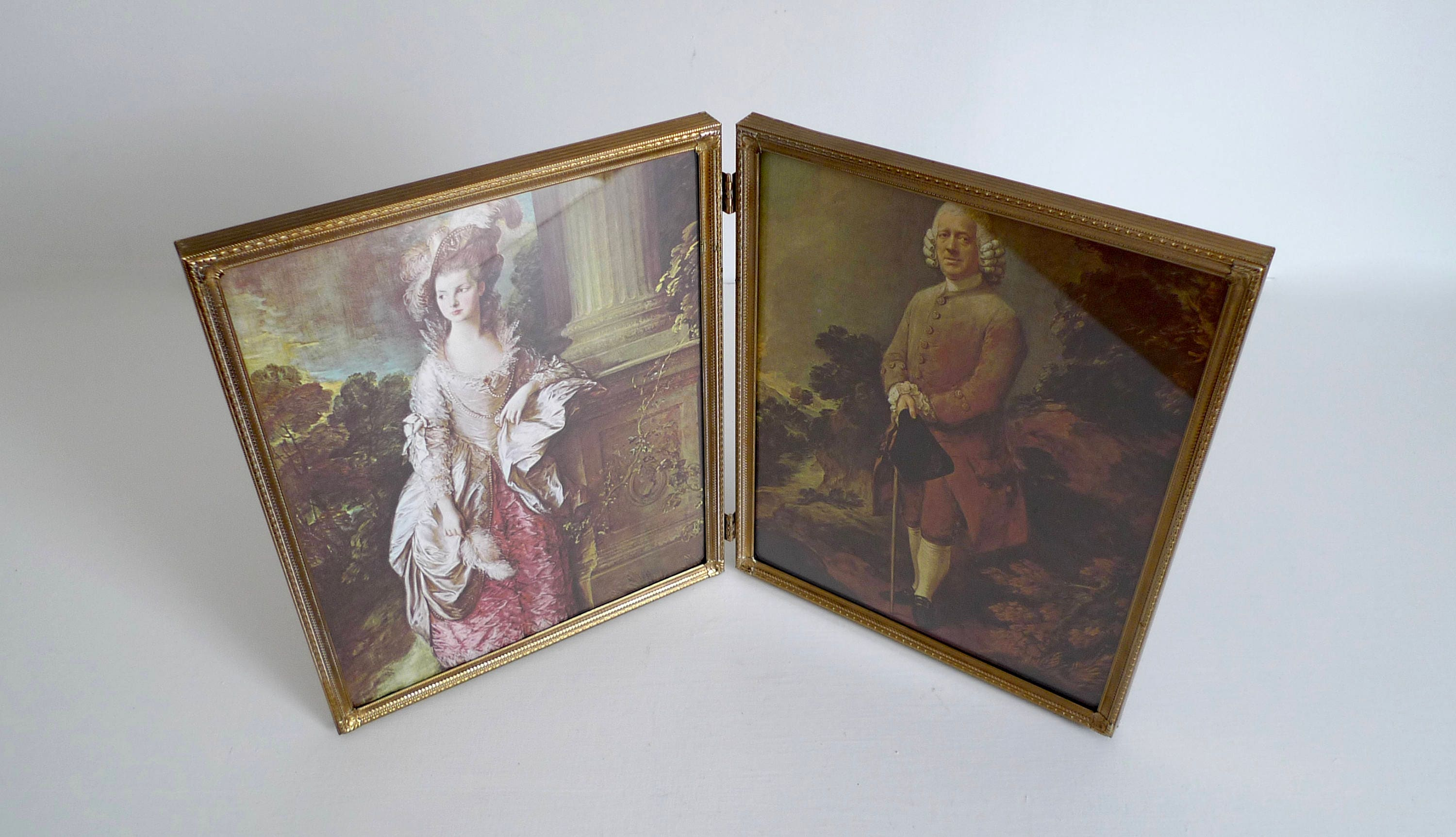Vintage gold metal bifold 8x10 double picture frame 8 x zoom jeuxipadfo Gallery