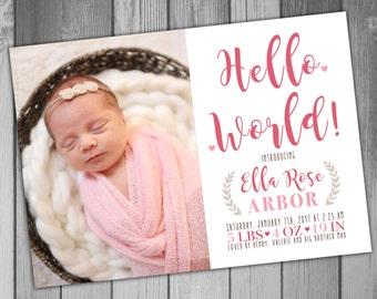 Birth Announcement Girl Birth Announcement Baby Announcement Printable Birth Announcement Newborn Announcement Baby Girl Announcement