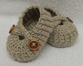 Crocheted baby shoes handmade baby shower gift beige baby booties knitted baby footwear baby boy shoes CHOOSE COLOUR and SIZE