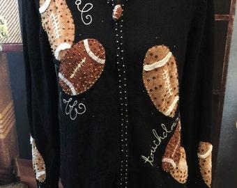 Vintage Just B Sport Brown Knit Sweater Beaded Football Fan Full Zip Cardigan Size Small EUC