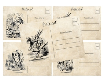 INSTANT DOWNLOAD, Alice in Wonderland Postcards, 5 x 3.5 Printable, Glamorous Sweet Events