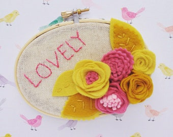 Hoop Art with Felt Flowers - Lovely - Yellow and Rose by Catshy Crafts
