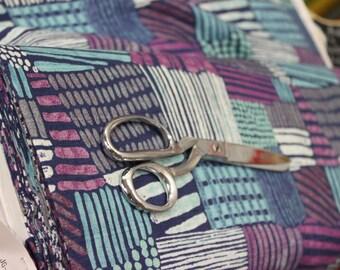 Japanese Kokka /Echino Fabric - Kuiskaus by Sawako URA (purple and teal)