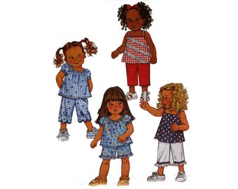 Toddlers Pants and Top,  Pattern, Size 1, 2, 3, 4, Butterick 3856, Toddler Shorts, A-line Top, Toddler Coordinates, Baby Clothes, Capris