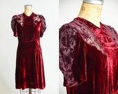 1920s Crimson Velvet and Lace Dress Sheer Floral Sleeve Flapper Dress