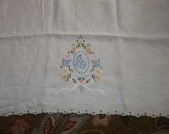 VICTORIAN  Era  Pure Linen Pillow Cover Hand Embroidery...Perfect Condition...Free Shipping
